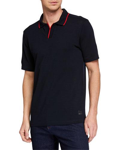 Men's Contrast-Trim TechMerino Wool Polo Shirt
