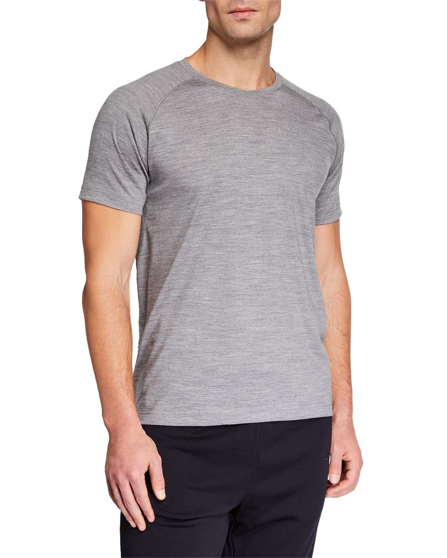 Z ZEGNA-TECHMERINO Men'S French Short-Sleeve T-Shirt in Light Gray