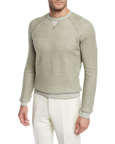 Men's Cotton/Cashmere-Blend Raglan Crewneck Sweater