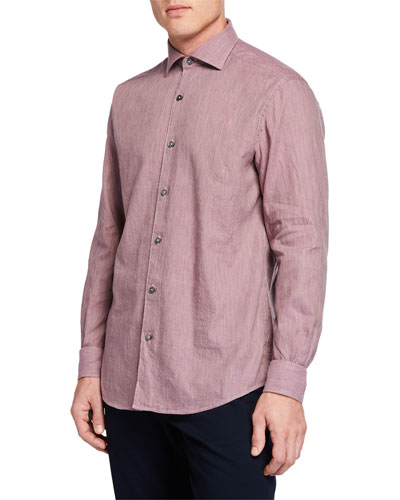 Men's Long-Sleeve Linen Blend Houndstooth Sport Shirt