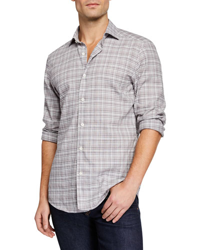 Men's Two-Tone Plaid Linen-Cotton Sport Shirt