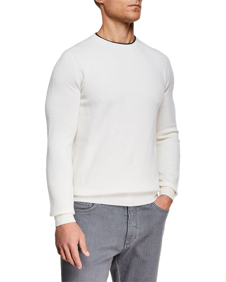 Ermenegildo Zegna Men's Contrast-Trim Performance  Wool Sweater