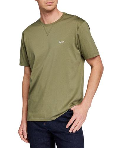 Men's Embroidered-Logo T-Shirt, Dark Green