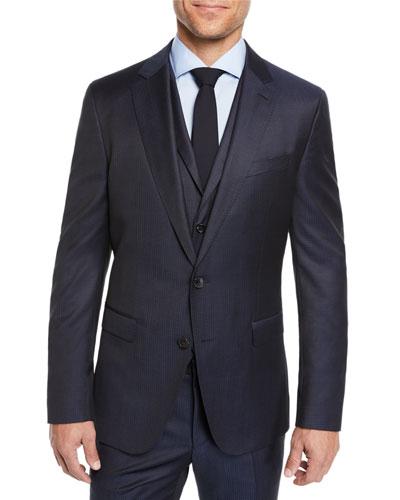 Men's Check Three-Piece Suit