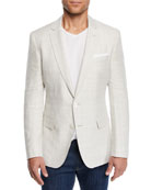 BOSS Men's Linen/Wool Windowpane Sport Coat