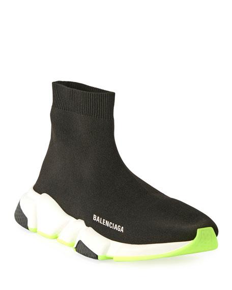 Balenciaga Men's Speed Knit Sneaker with Fluo Sole