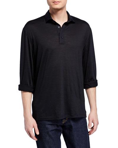 Men's Lightweight Wool Long-Sleeve Polo Shirt, Navy
