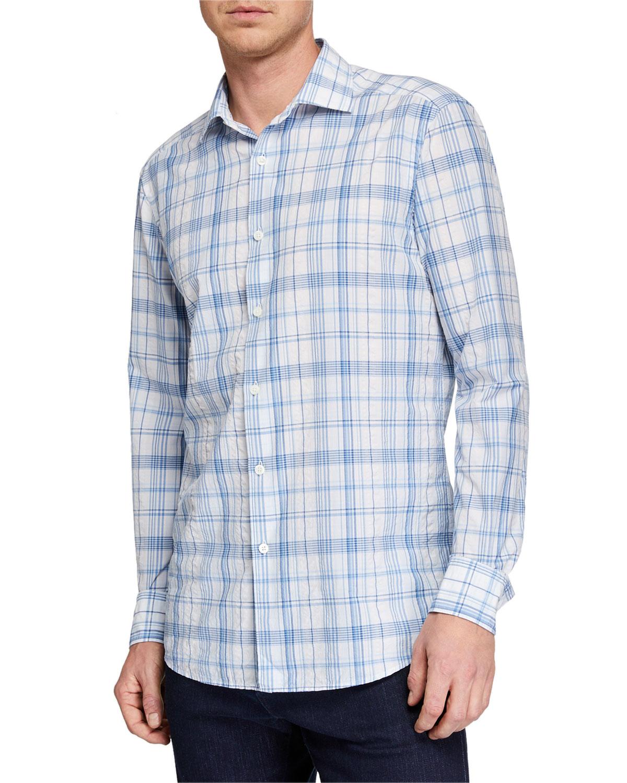 Ermenegildo Zegna T-shirts MEN'S PLAID BUTTON-DOWN COTTON SHIRT
