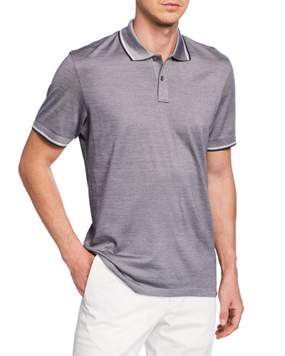 Men's Jersey Polo Shirt with Double Striped Collar