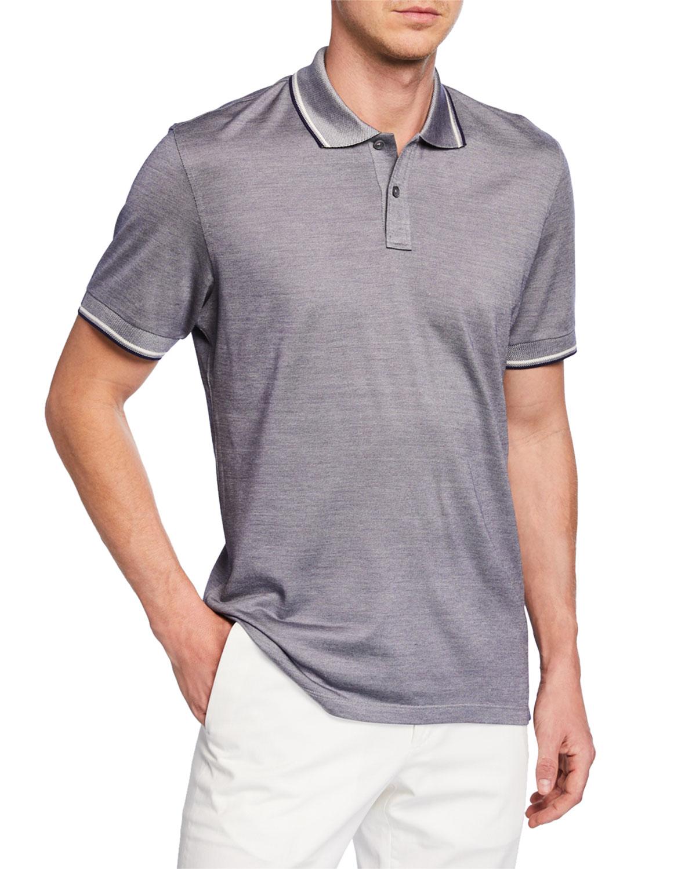 Ermenegildo Zegna T-shirts MEN'S JERSEY POLO SHIRT WITH DOUBLE STRIPED COLLAR