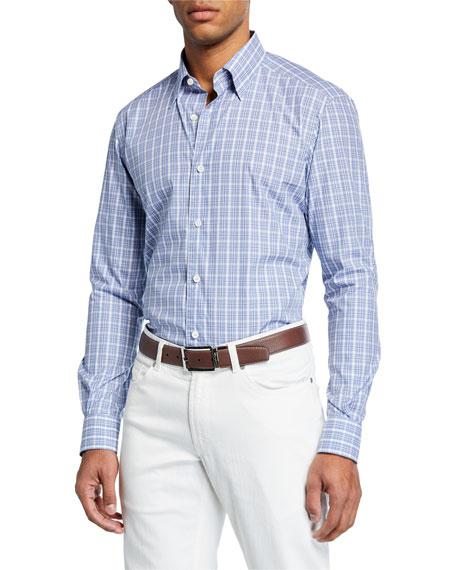 Ermenegildo Zegna Men's Plaid Long-Sleeve Regular-Fit Shirt