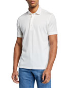 Ermenegildo Zegna Men's Leggerissimo Cotton Polo Shirt, White
