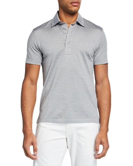 Ermenegildo Zegna Men's Silk-Blend Regular-Fit Polo Shirt