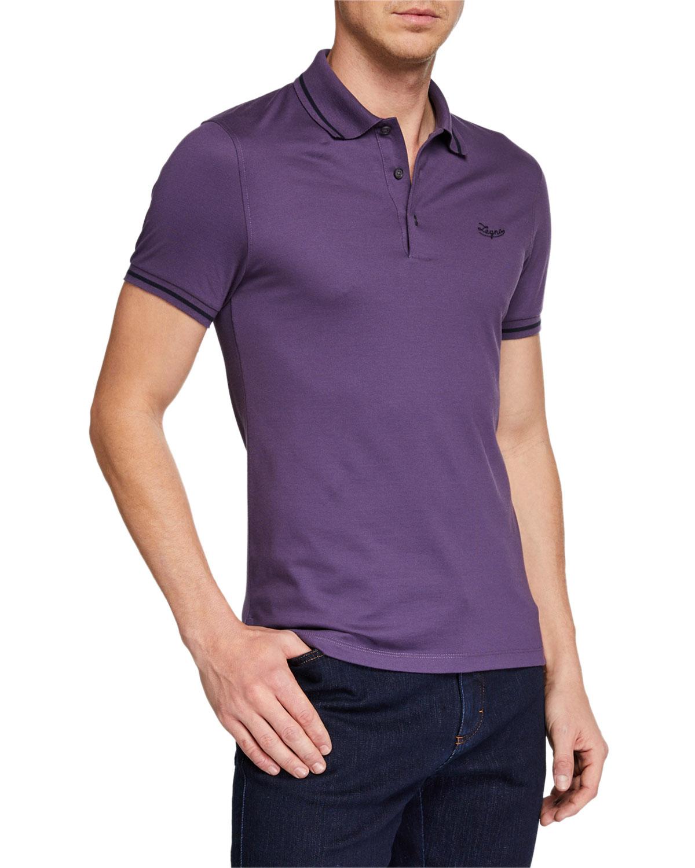 Ermenegildo Zegna T-shirts MEN'S TIPPED COTTON JERSEY POLO SHIRT