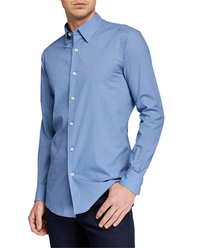 Men's Micro-Print Circles Button-Down Woven Shirt