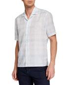 Ermenegildo Zegna Men's Striped Linen-Blend Short-Sleeve Sport