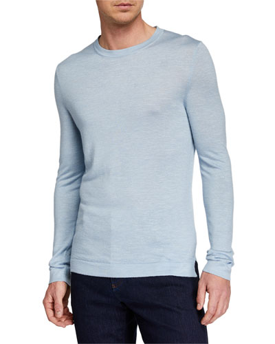 Men's Cashmere-Blend Crewneck Sweater, Blue