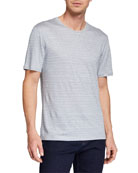 Ermenegildo Zegna Men's Crewneck Striped Linen T-Shirt