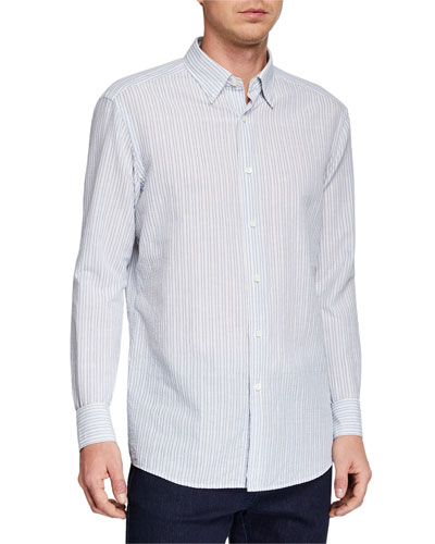 Men's Striped Seersucker Sport Shirt