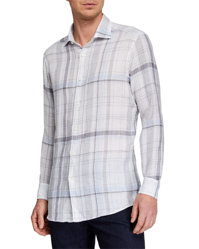 Men's Plaid Linen Sport Shirt