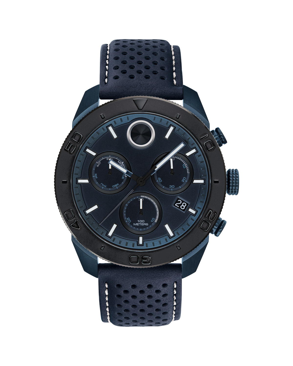 Bold Sport Chronograph Leather Strap Watch, 44Mm in Navy Blue/ Black