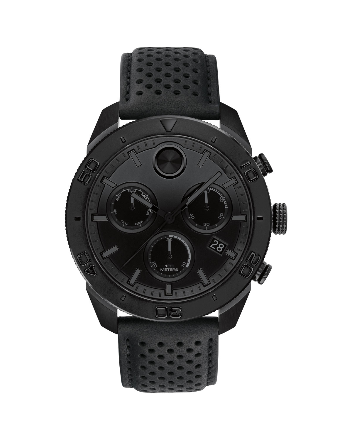 Bold Sport Chronograph Leather Strap Watch, 44Mm in Black