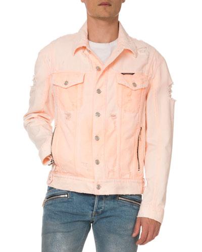 Men's Distressed Neon Denim Jacket