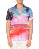 Balmain Men's Beach Print Shirt