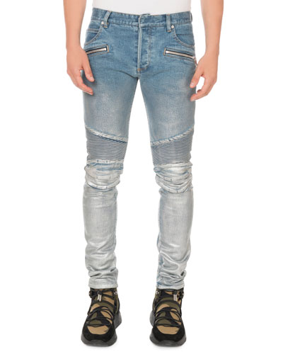 e63512a7 Quick Look. Balmain · Men's Slim Ribbed Zip-Pocket Jeans. Available in Blue