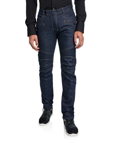 de7d0f0a Quick Look. Balmain · Men's Tapered Bleach Biker Denim Jeans. Available in  Blue