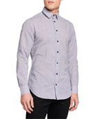 Giorgio Armani Men's Micro-Graph Cotton Sport Shirt