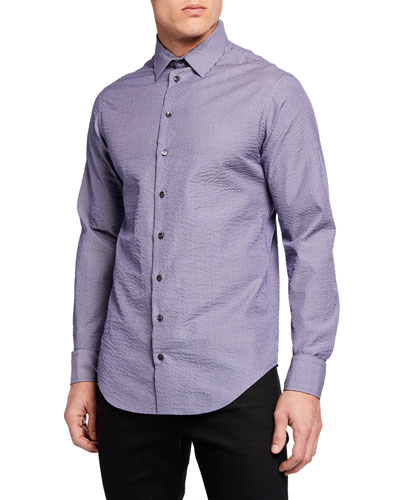 Men's Micro Stripe Seersucker Sport Shirt