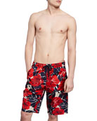 Moncler Men's Long Floral Swim Trunks