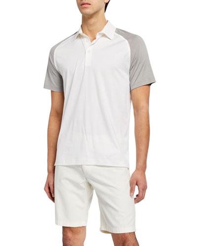 Men's Two-Tone Silk/Cotton Jersey Polo Shirt
