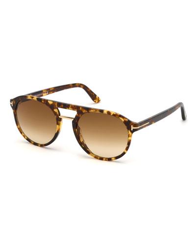 Men's Ivan Round Plastic Sunglasses