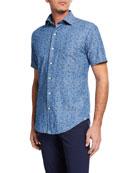 Peter Millar Men's Hawaiian Hibiscus Short-Sleeve Sport Shirt
