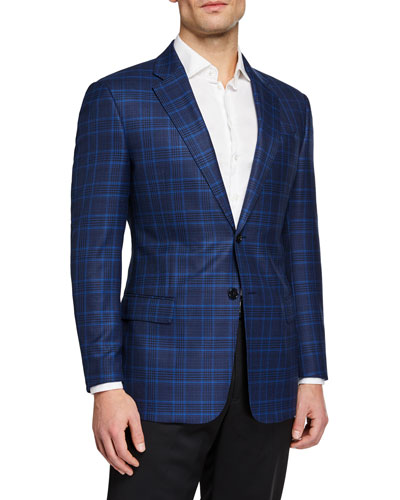 Men's Super 130's Plaid Sport Jacket