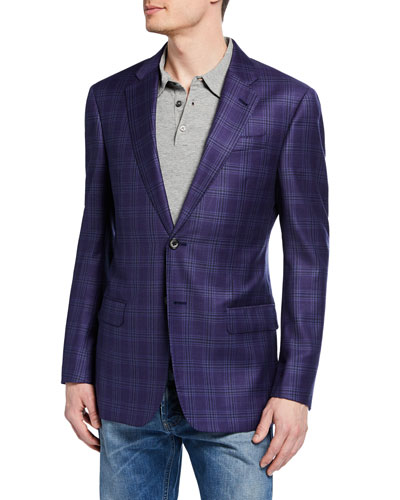 Men's Plaid Super 130s Wool Two-Button Jacket