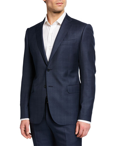 Men's M Line Super 130s Wool Plaid Two-Piece Suit