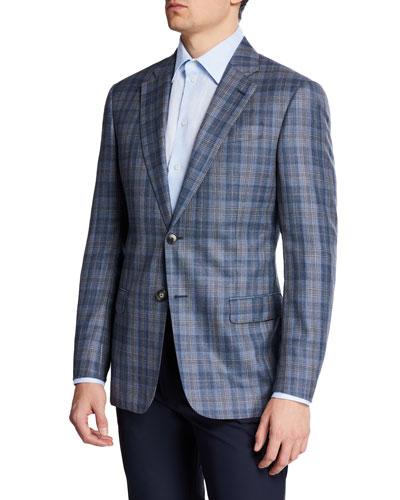 Men's Earth-Tone Plaid Sport Coat