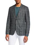 BOSS Men's Windowpane Slim-Fit Two-Button Jacket