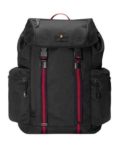 Men's Techno-Canvas Flap Backpack