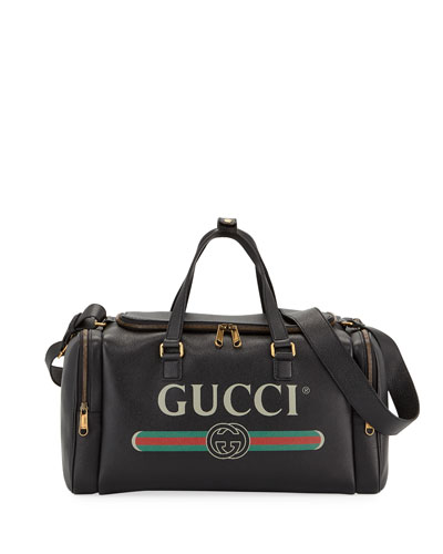 Men's Gucci-Print Leather Duffel Bag