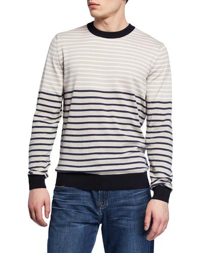 Men's Striped Crewneck Cotton Sweater