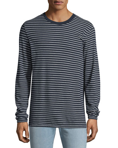 Men's Pin-Thin Striped Long-Sleeve T-Shirt