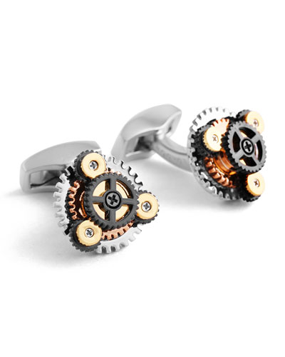 Multicolor Round Rotating Gear Cuff Links
