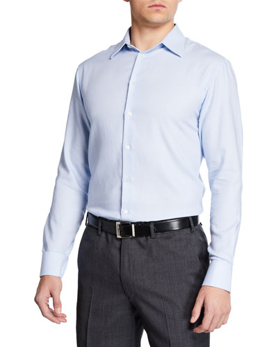Men's Diagonal Stripe Modern Fit Dress Shirt