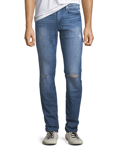 Men's L'Homme Slim Ripped-Knee Jeans