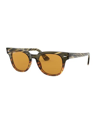 Men's Square Acetate Sunglasses with Solid Lenses