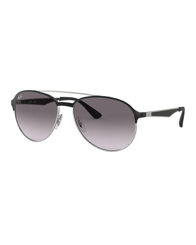 Men's Round Gradient Metal Aviator Sunglasses
